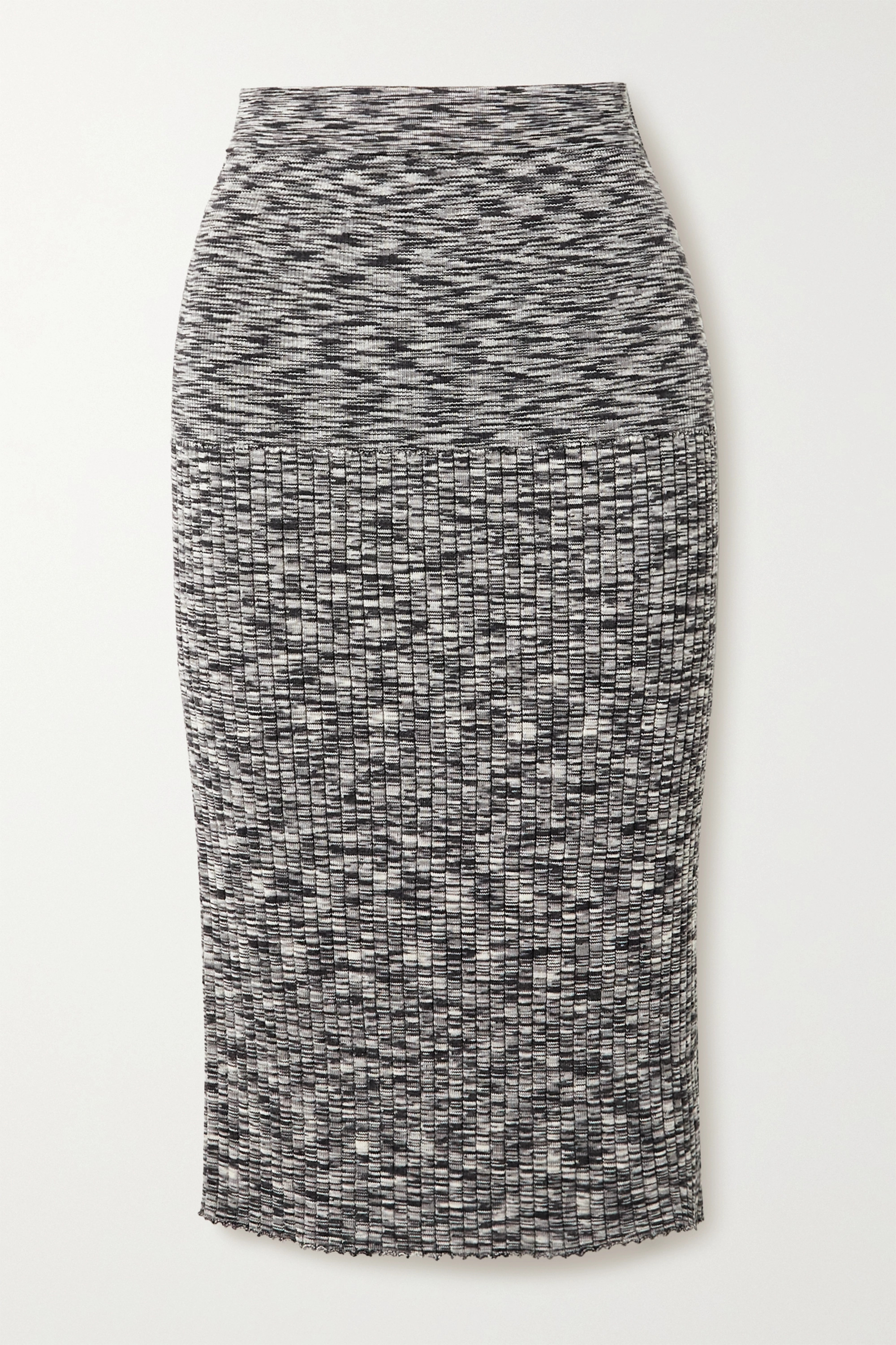 Joseph Space-dyed ribbed wool-blend skirt