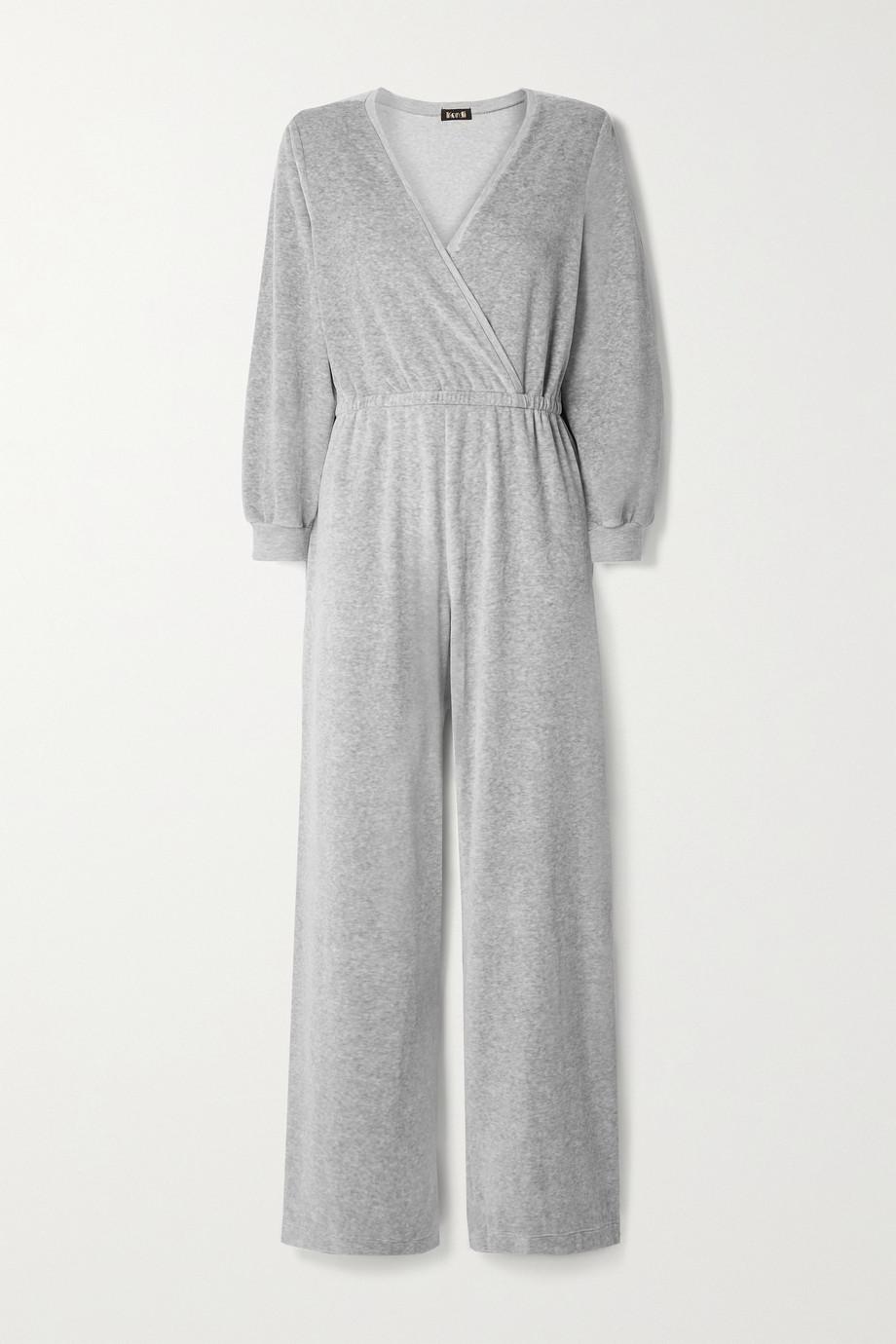Suzie Kondi Combi-pantalon effet cache-cœur en velours de coton mélangé