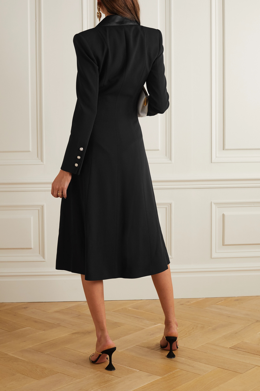 Alessandra Rich Satin-trimmed wool-blend crepe midi shirt dress