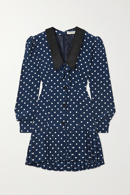 Alessandra Rich Bow-detailed pleated polka-dot silk mini dress