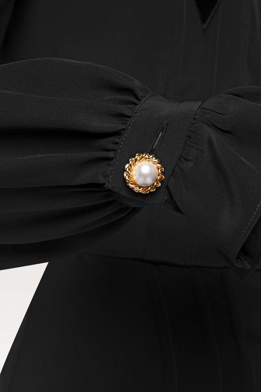 Alessandra Rich Ruffled pleated silk midi dress