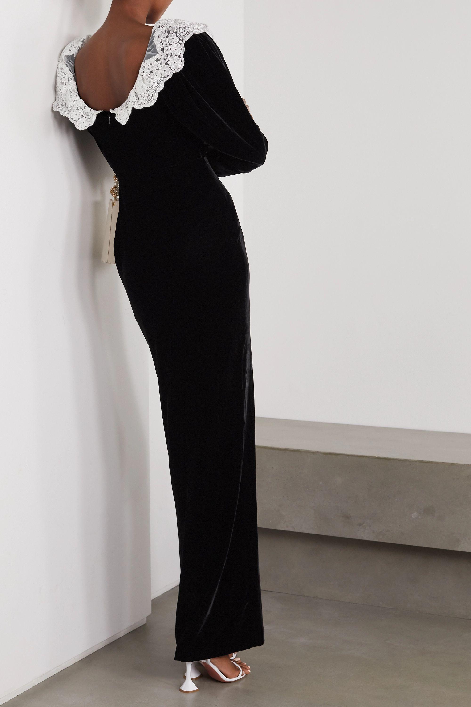 Alessandra Rich Lace-trimmed sequin-embellished velvet gown