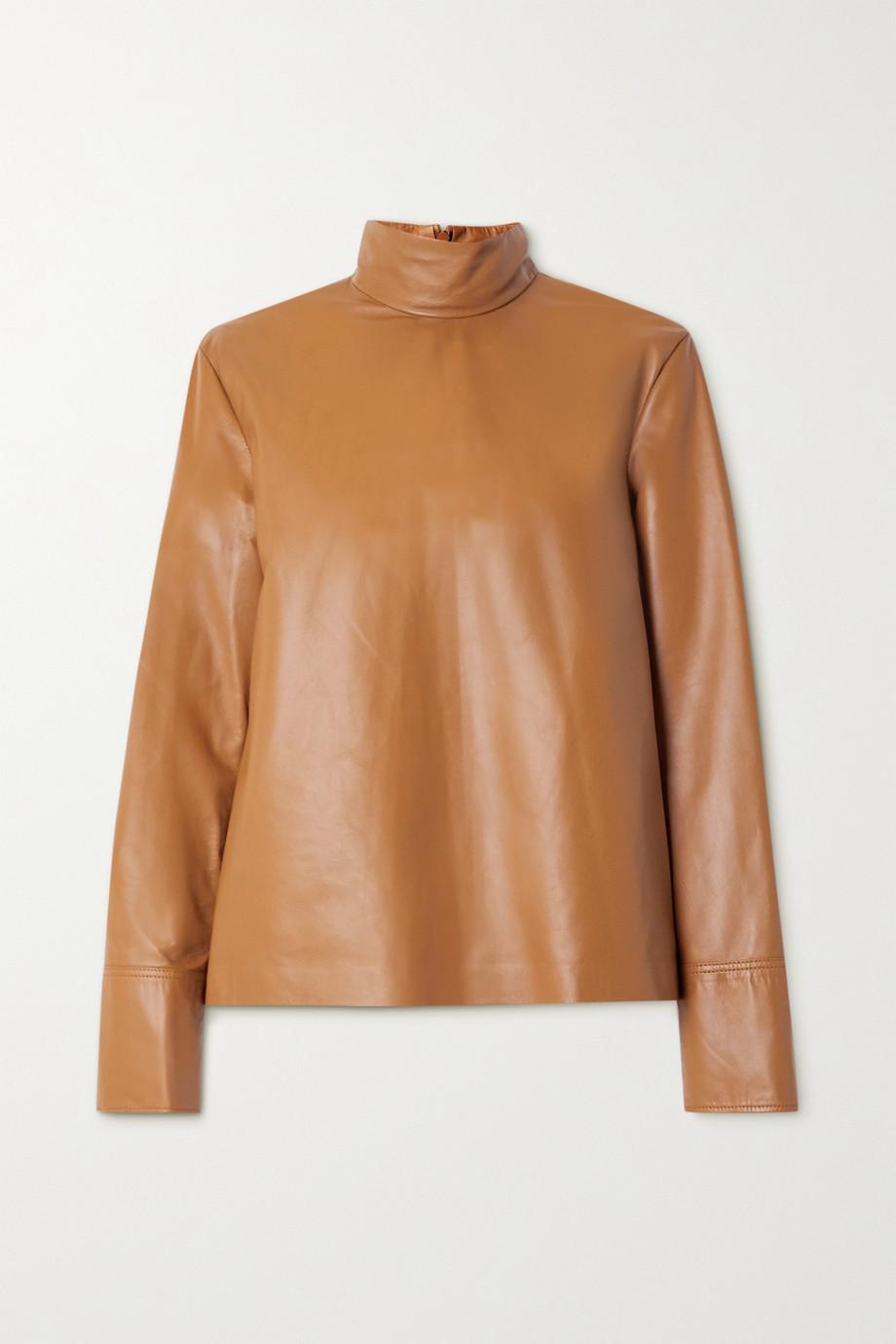 Joseph Bibo leather turtleneck top