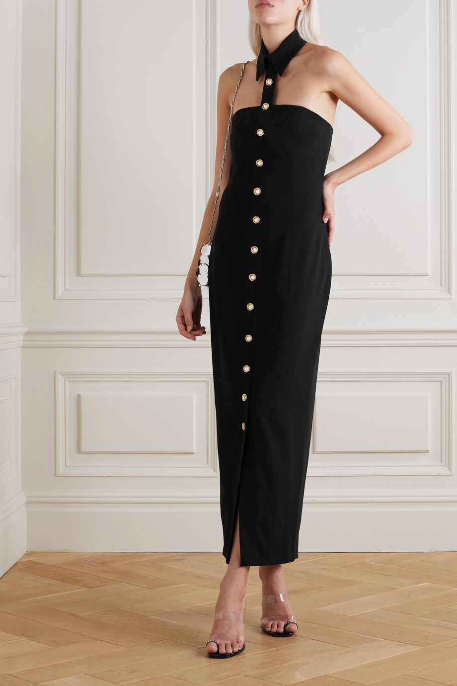 Alessandra Rich Strapless crystal-embellished wool-blend crepe midi dress