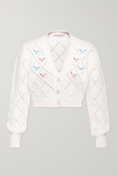 Alessandra Rich - Cropped Embroidered Pointelle-knit Alpaca-blend Cardigan