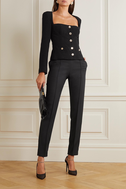 Alessandra Rich Crystal-embellished wool-blend tweed jacket