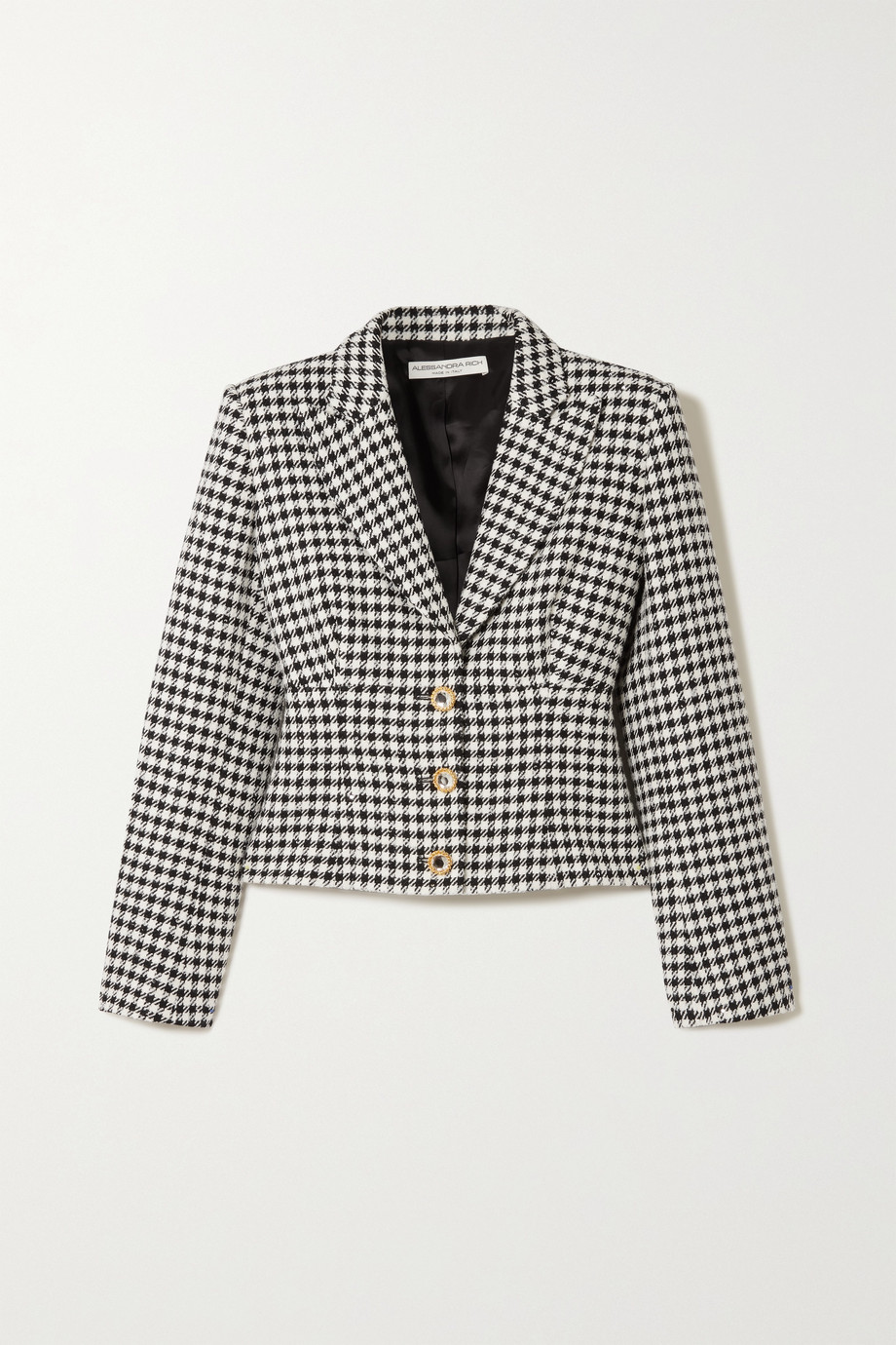 Alessandra Rich Sequin and crystal-embellished houndstooth tweed jacket