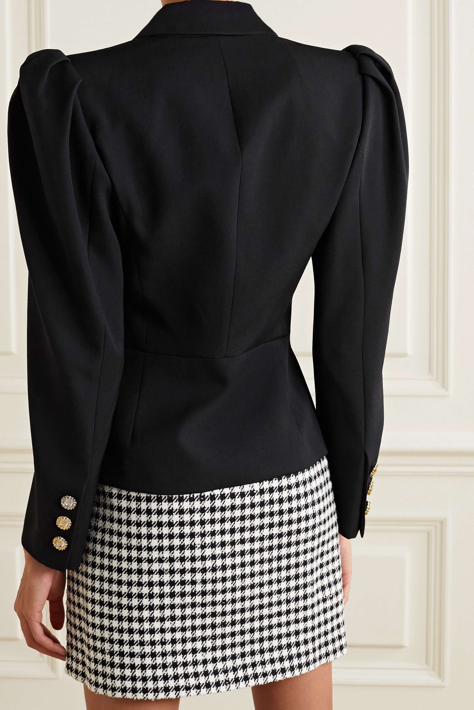 Alessandra Rich Crystal-embellished double-breasted wool blazer