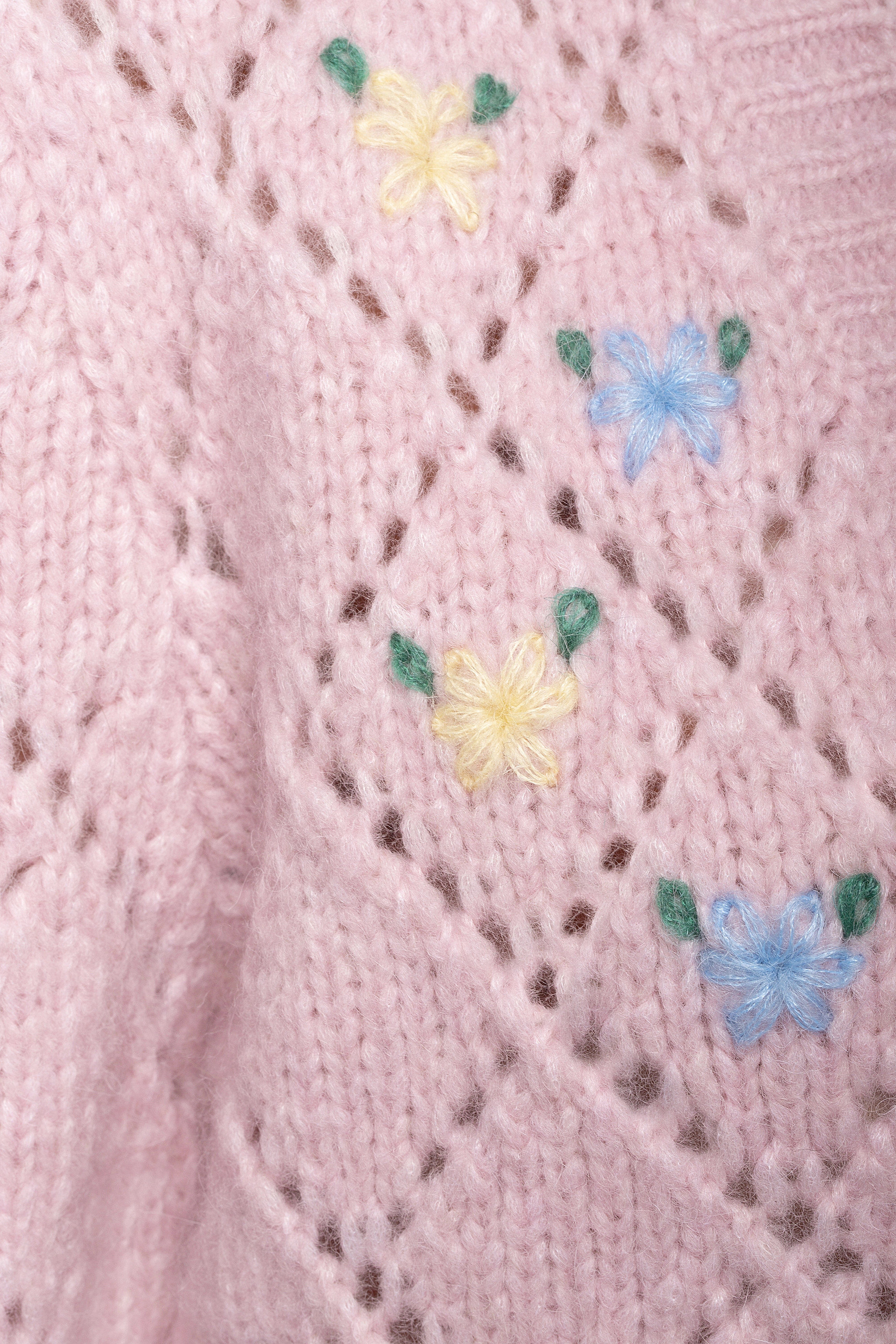 Alessandra Rich Cropped embroidered pointelle-knit alpaca-blend cardigan