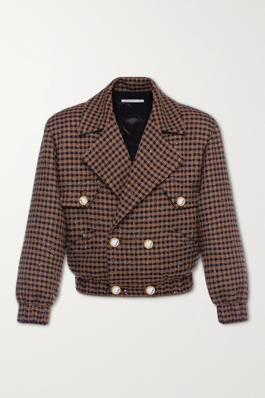 Alessandra Rich Vichy embellished houndstooth tweed bomber jacket