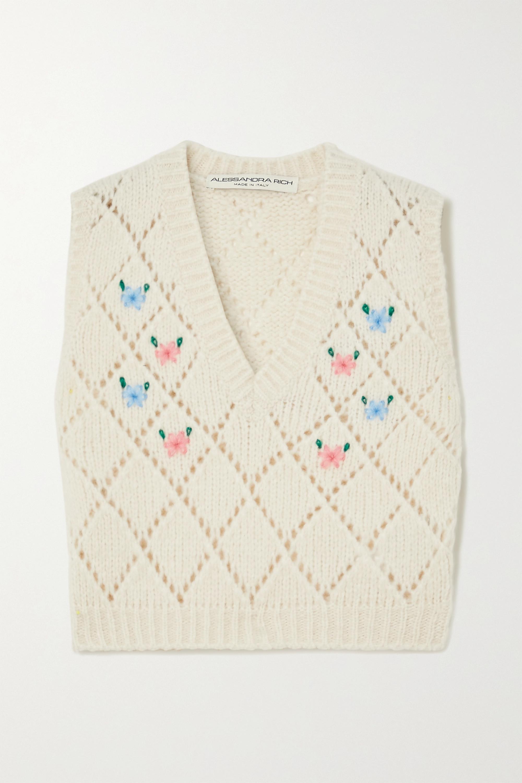 Alessandra Rich Embroidered pointelle-knit alpaca-blend vest