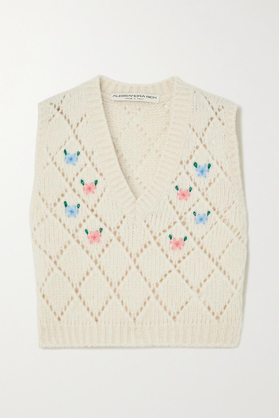 Alessandra Rich Ärmelloser Pullover aus Pointelle-Strick aus einer Alpakawollmischung mit Stickereien