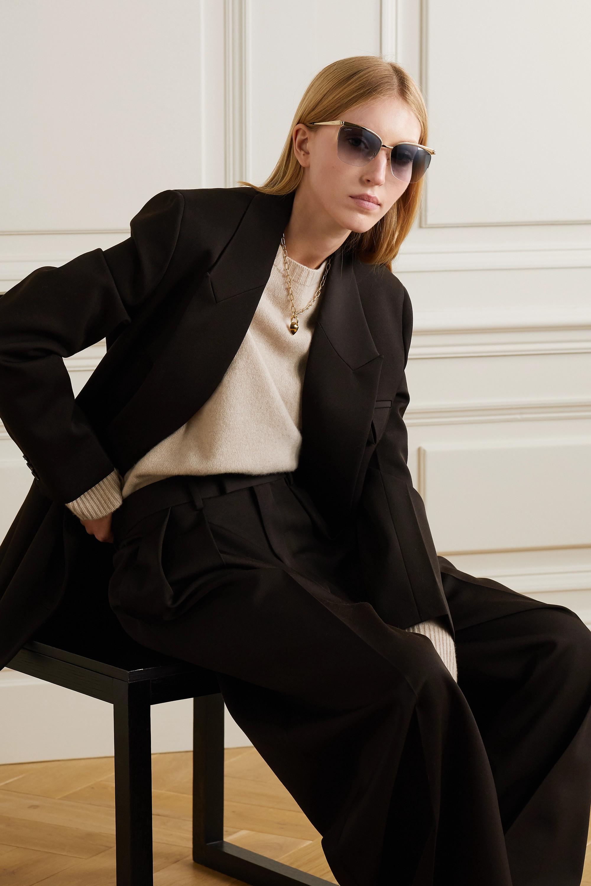 Cartier Eyewear Goldfarbene Sonnenbrille mit Cat-Eye-Rahmen