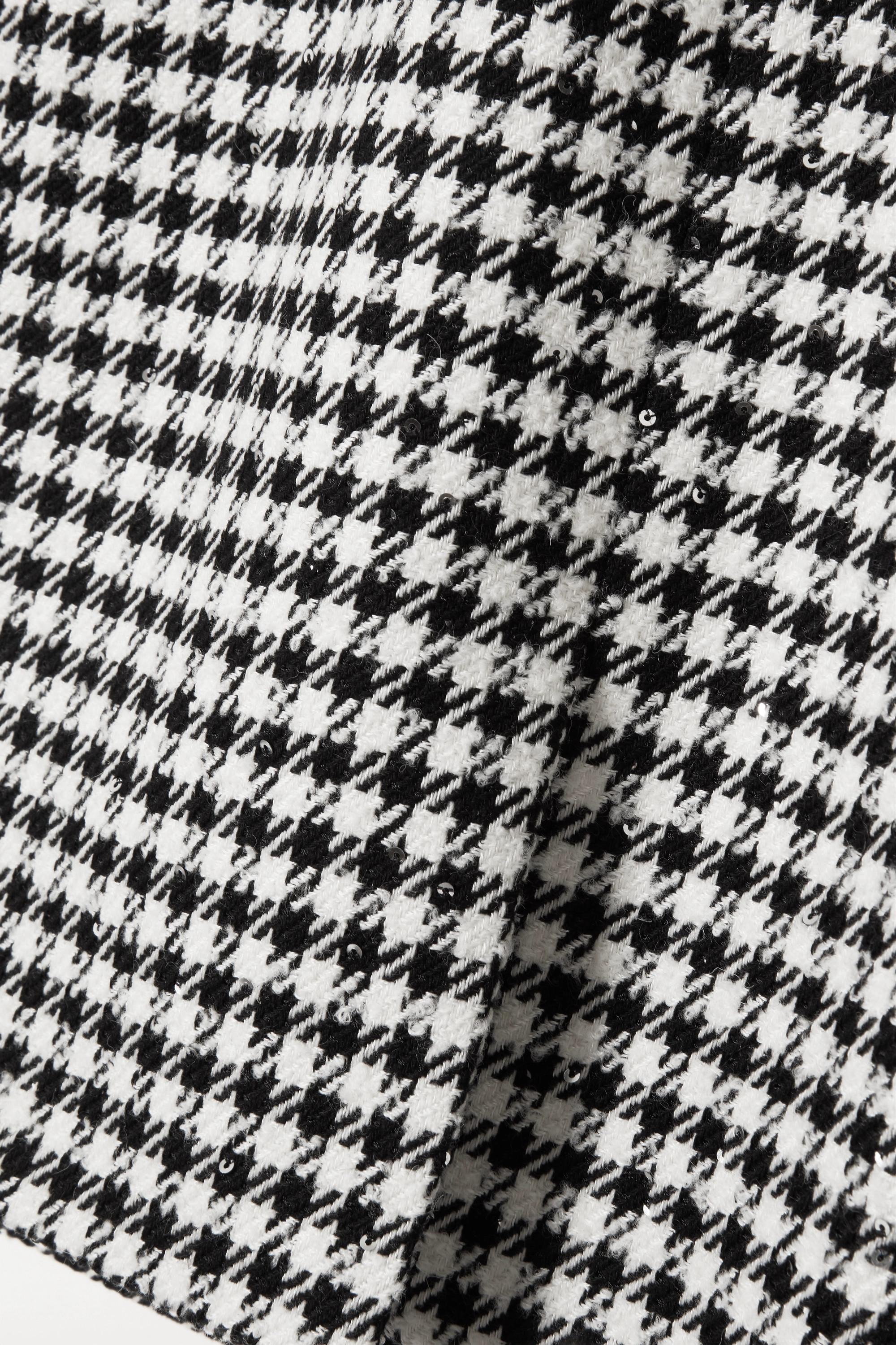 Alessandra Rich Minirock aus Tweed mit Hahnentrittmuster und Pailletten