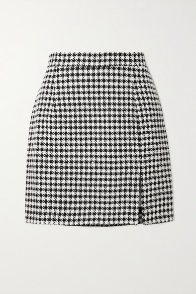 Alessandra Rich - Sequin-embellished Houndstooth Tweed Mini Skirt