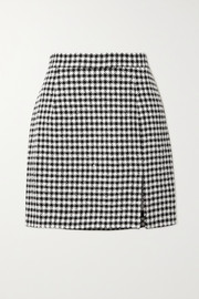 Alessandra Rich Sequin-embellished houndstooth tweed mini skirt