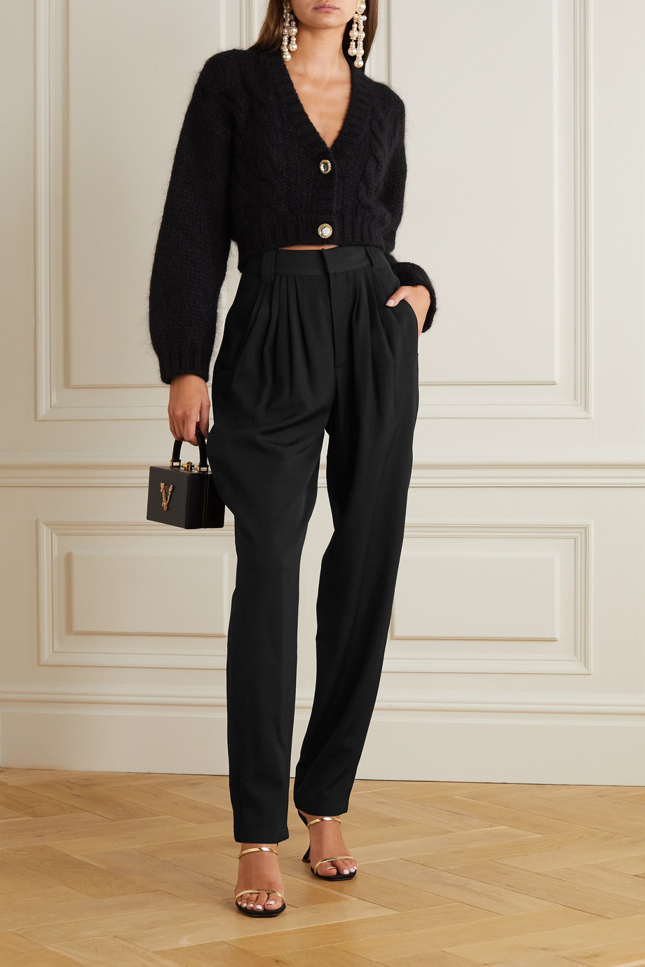 Alessandra Rich Pleated wool tapered pants