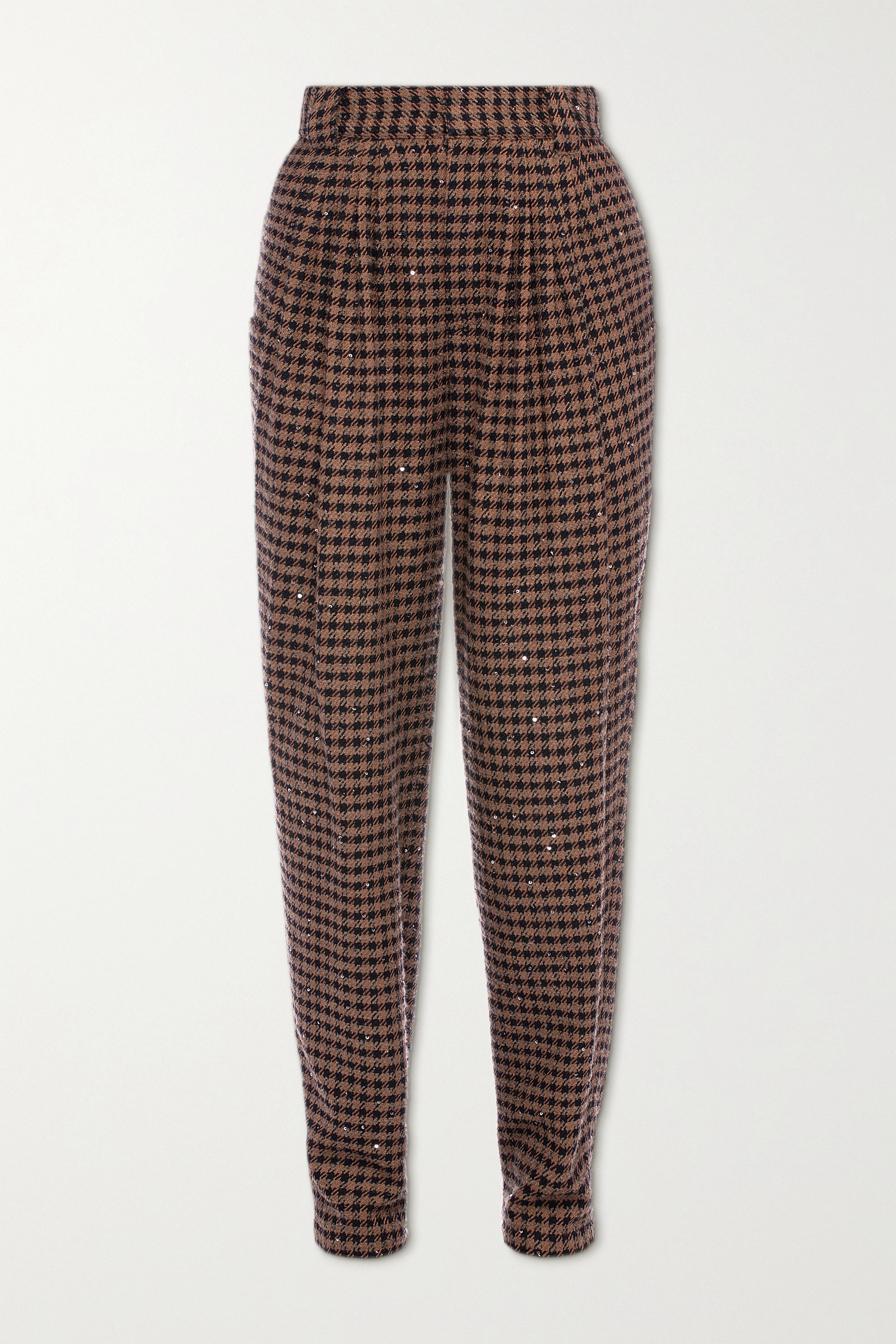 Alessandra Rich Vichy embellished houndstooth tweed tapered pants