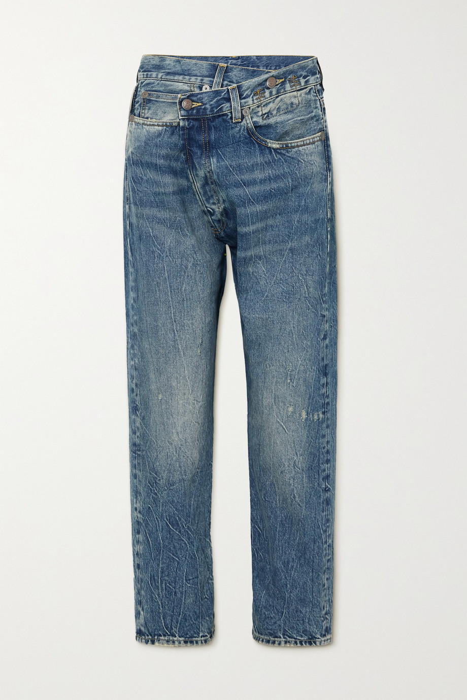 R13 Crossover asymmetrische Boyfriend-Jeans in Distressed-Optik