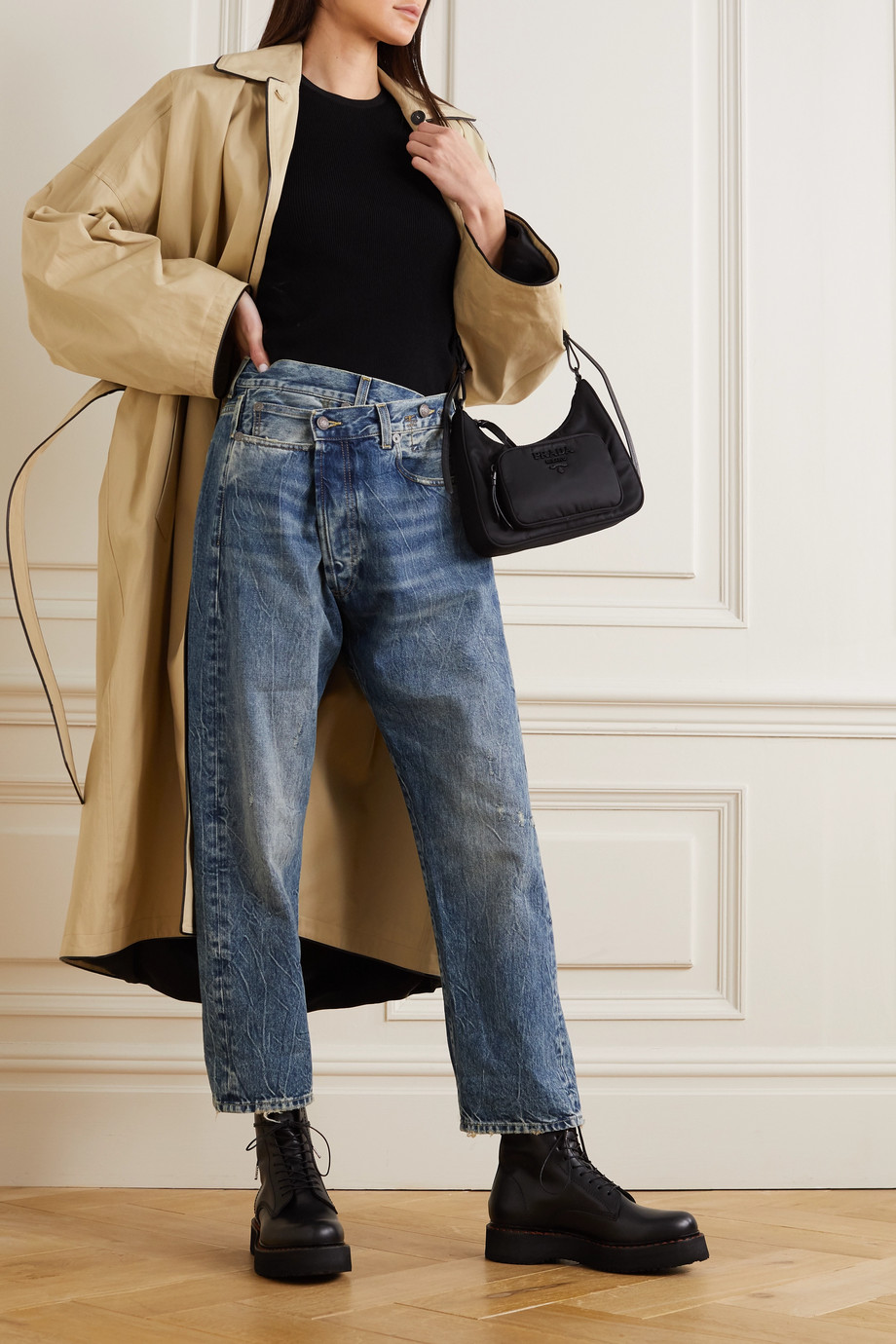 R13 Crossover asymmetric distressed boyfriend jeans