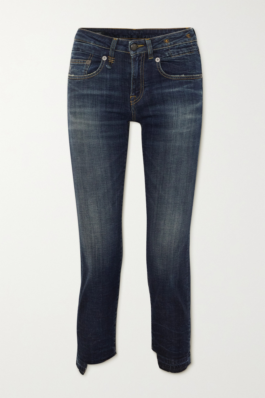R13 Boy Straight frayed mid-rise jeans