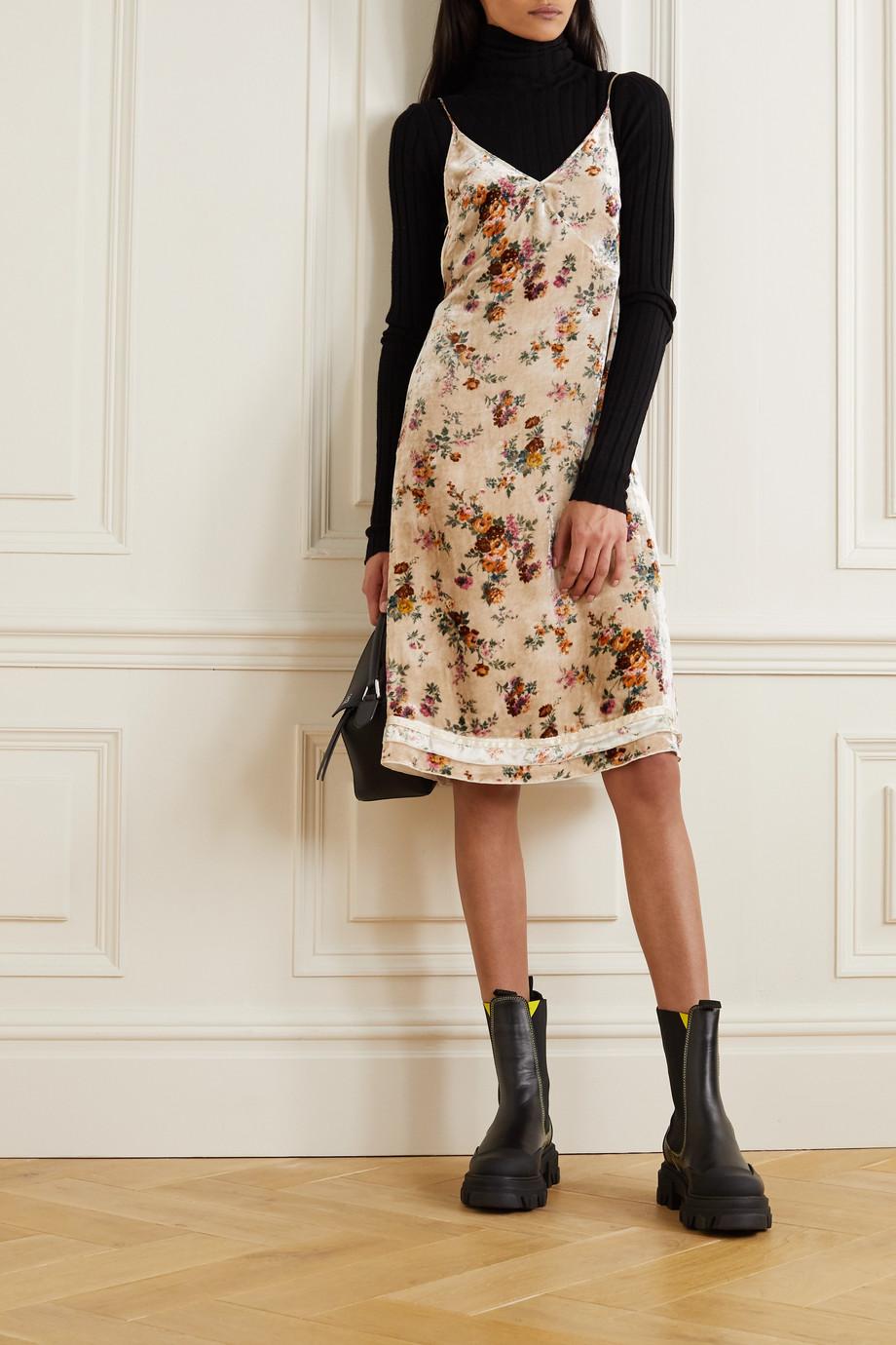 R13 Tie-detailed silk-trimmed floral-print velvet dress