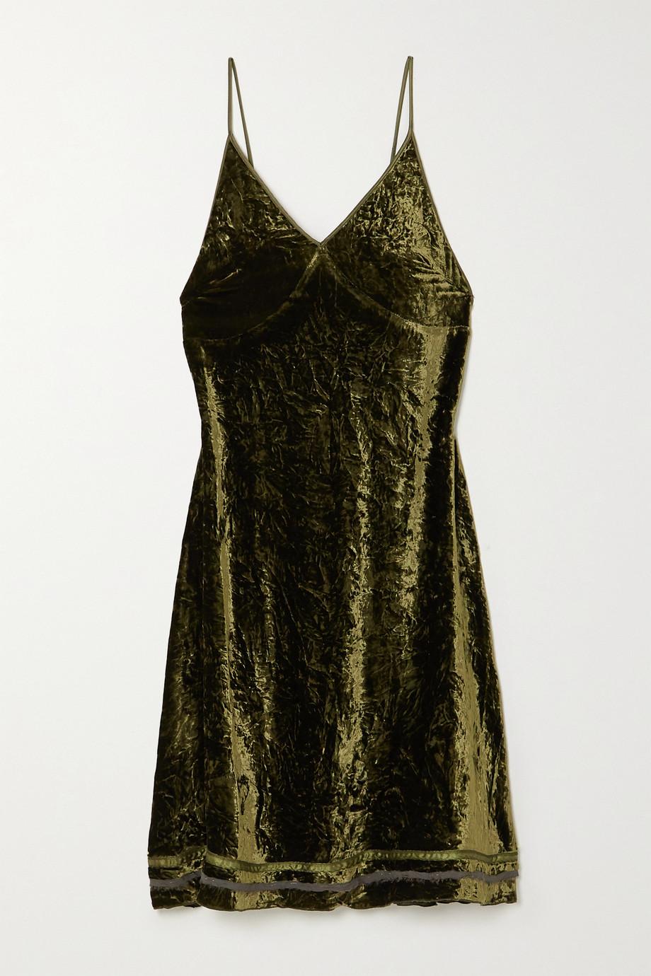 R13 Tie-detailed silk-trimmed velvet dress