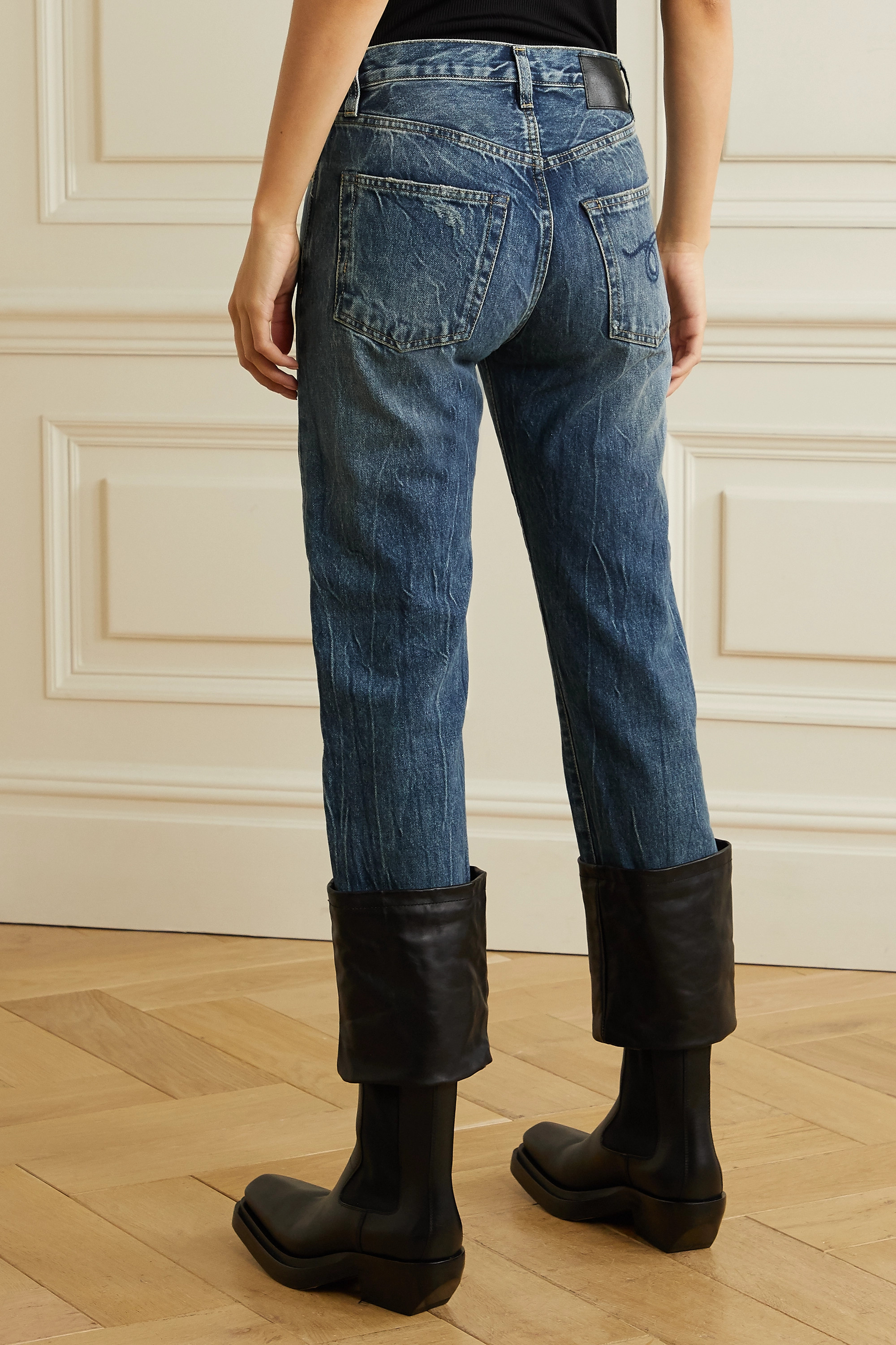 R13 Axl cropped leather-trimmed distressed high-rise straight-leg jeans