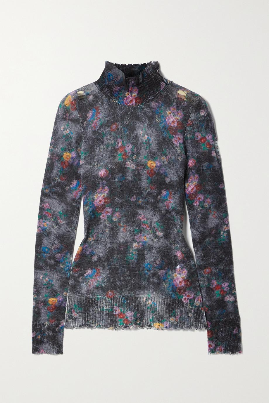 R13 Pullover aus Kaschmir mit Blumenprint, Stehkragen und Distressed-Details