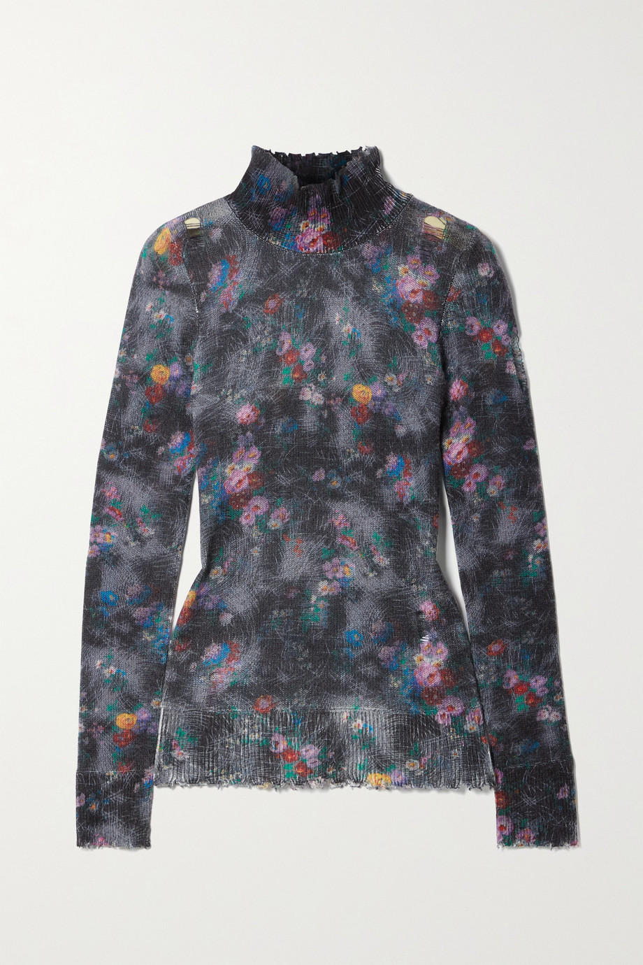 R13 Distressed floral-print cashmere turtleneck sweater