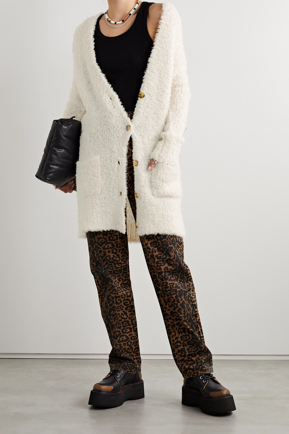 R13 Teddy Bear oversized wool-blend bouclé cardigan