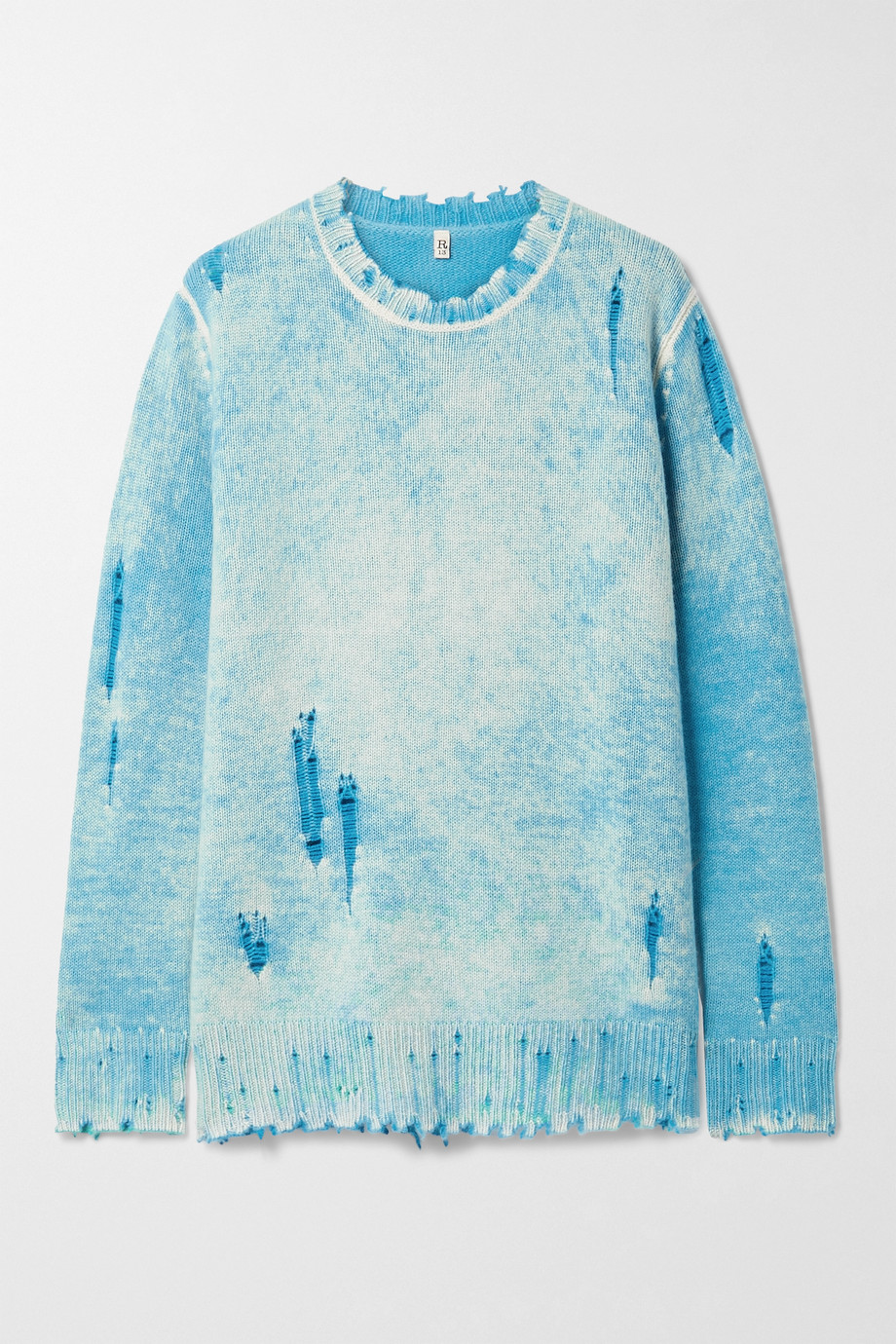 R13 Kaschmirpullover in Distressed-Optik