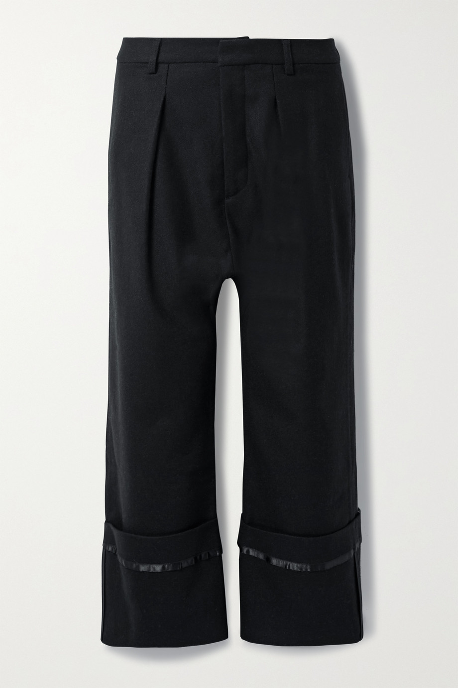 R13 Cropped satin-trimmed wool-twill pants