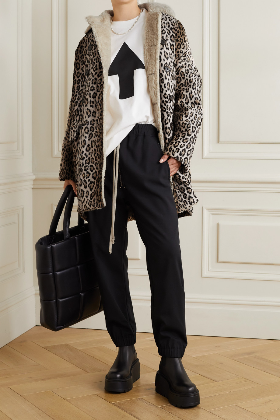 R13 Fleece-trimmed leopard-print cotton-blend faux fur coat