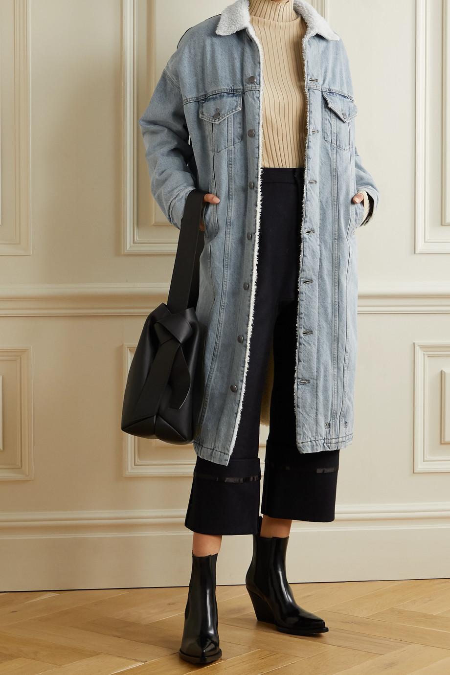 R13 Lyle oversized fleece-trimmed denim coat