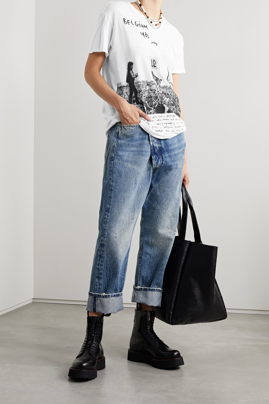 R13 Printed cotton and cashmere-blend T-shirt