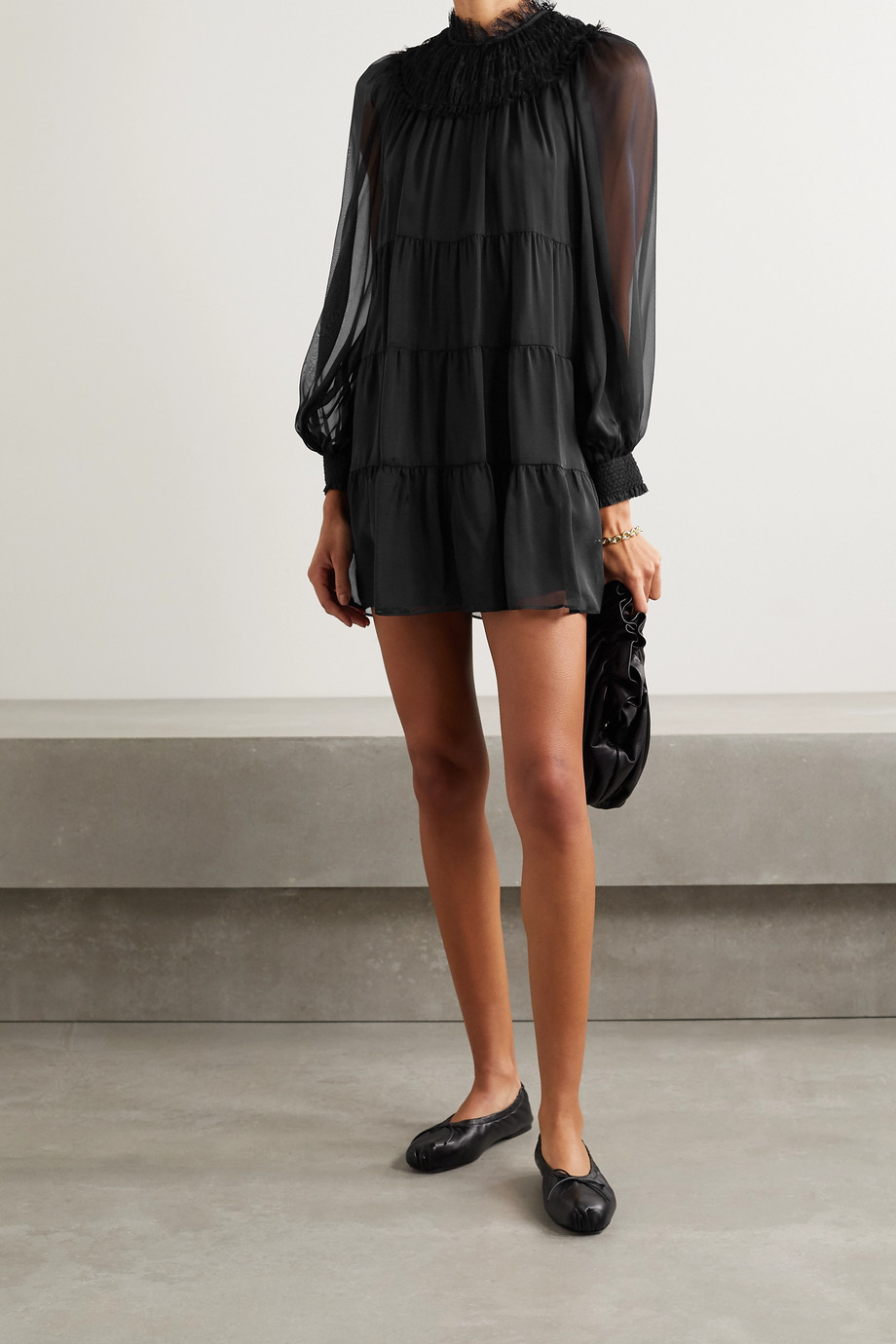Alice + Olivia Kellyann tiered lace-trimmed silk-chiffon mini dress