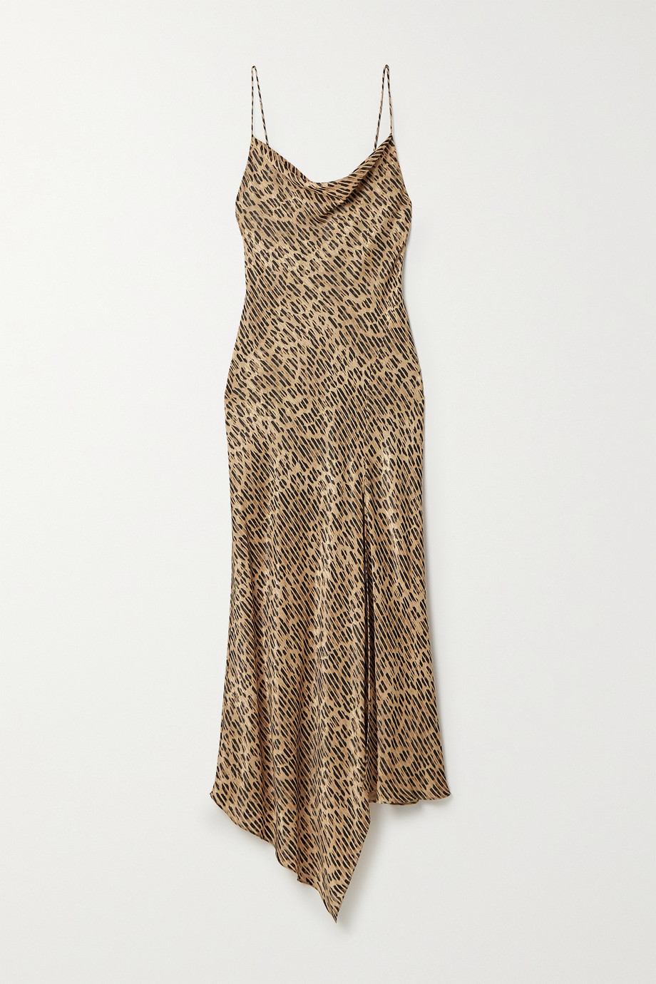 Alice + Olivia Harmony draped leopard-print satin-twill and voile dress