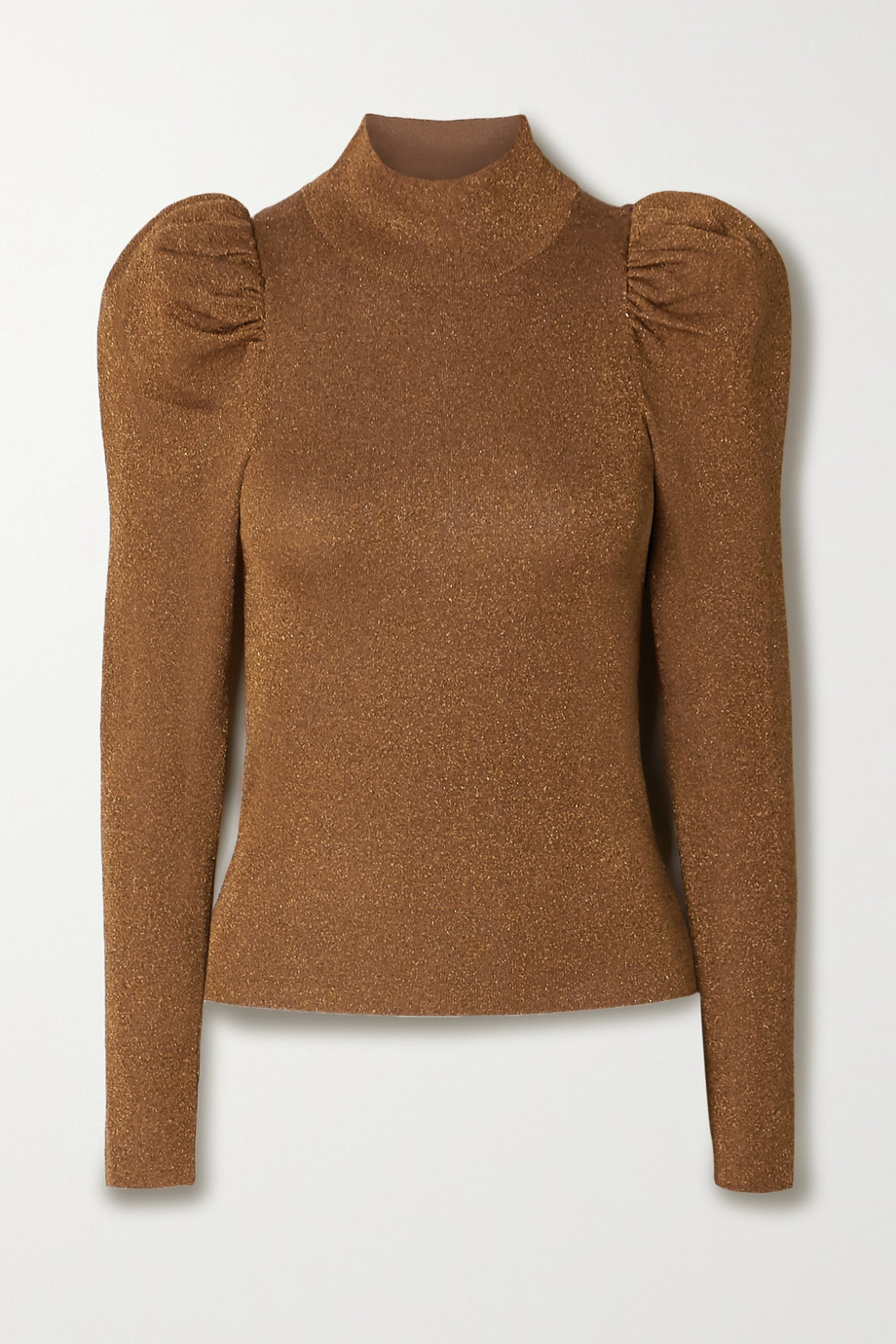 Alice + Olivia Issa gathered metallic wool-blend turtleneck sweater