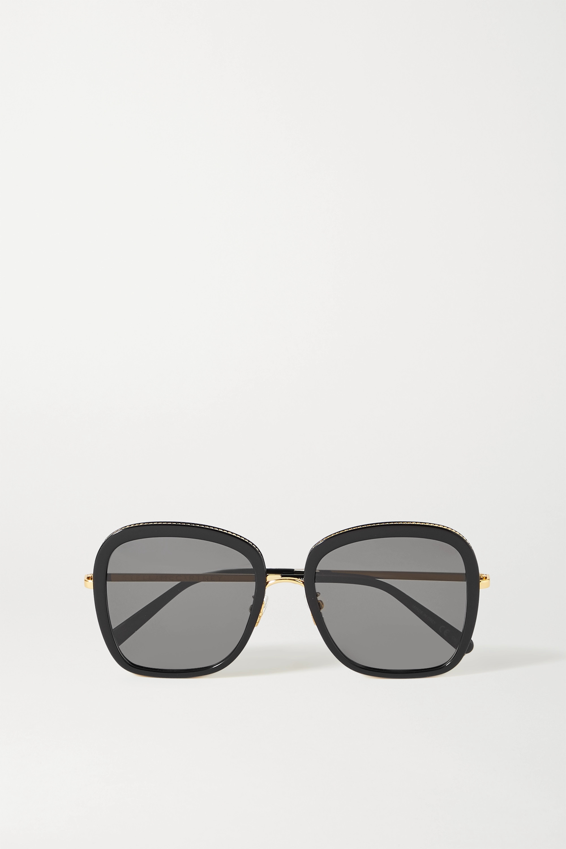 Stella McCartney Oversized square-frame acetate and gold-tone sunglasses