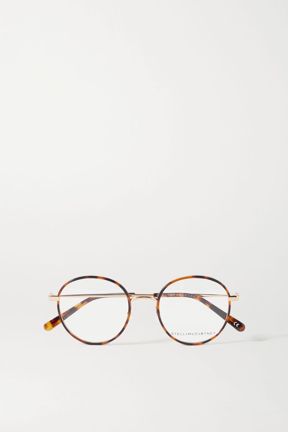Stella McCartney Round-frame tortoiseshell acetate and gold-tone optical glasses