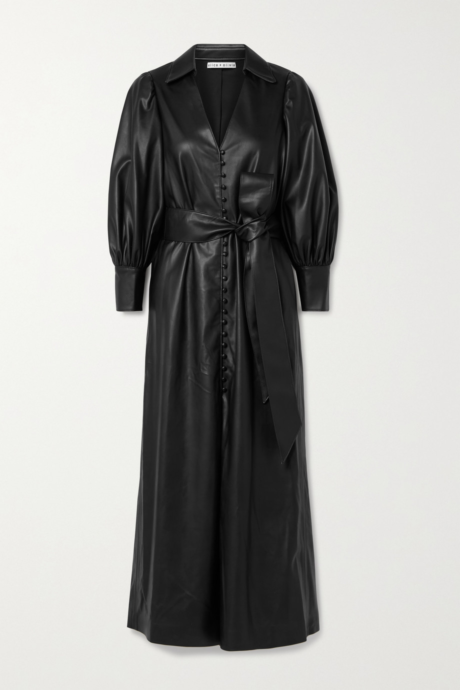 Alice + Olivia Zarita belted vegan leather maxi shirt dress