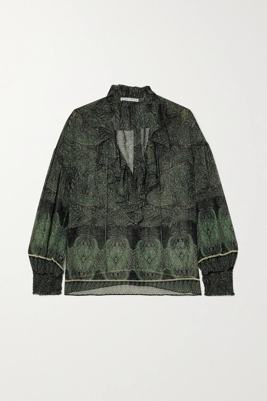 Alice + Olivia Julius ruffled paisley-print chiffon blouse