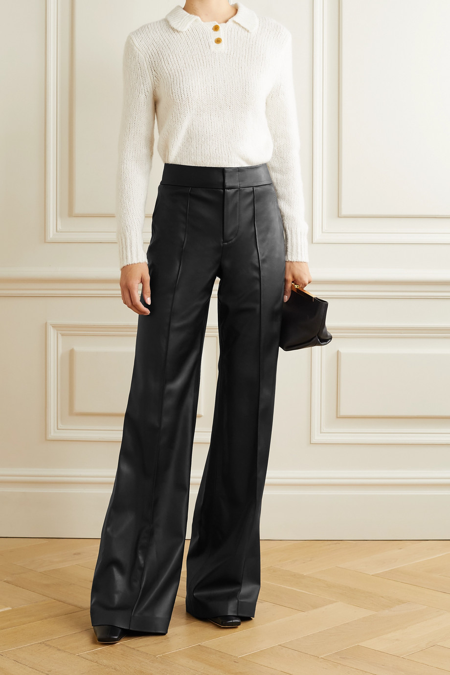 Alice + Olivia Dylan vegan leather wide-leg pants
