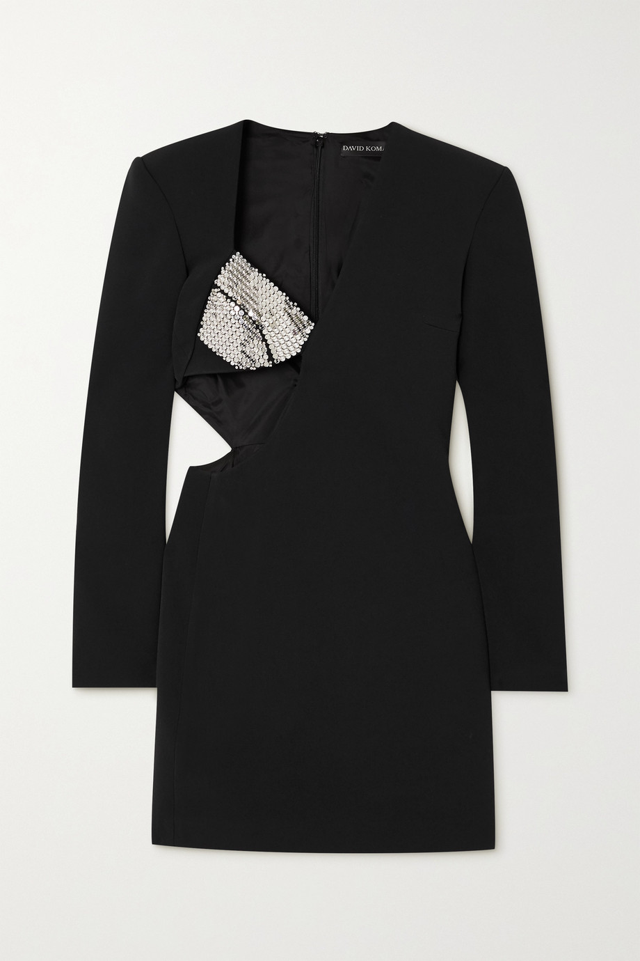 David Koma Cutout crystal-embellished crepe mini dress