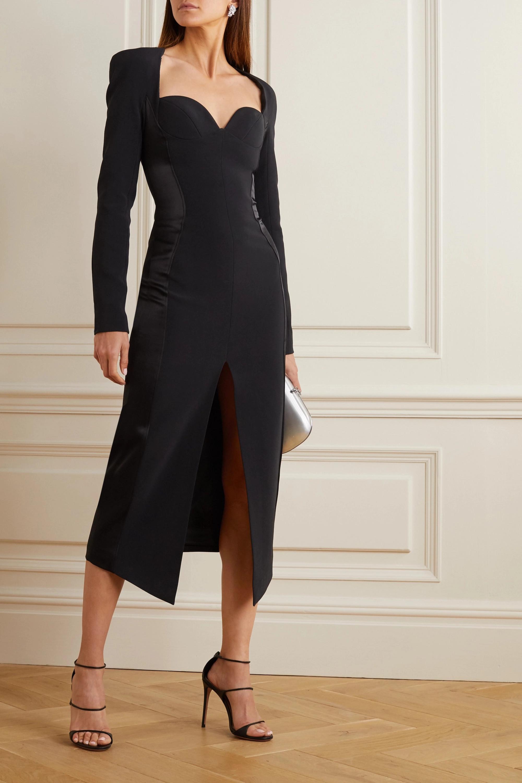 Black Embellished Crepe And Satin Midi Dress | David Koma