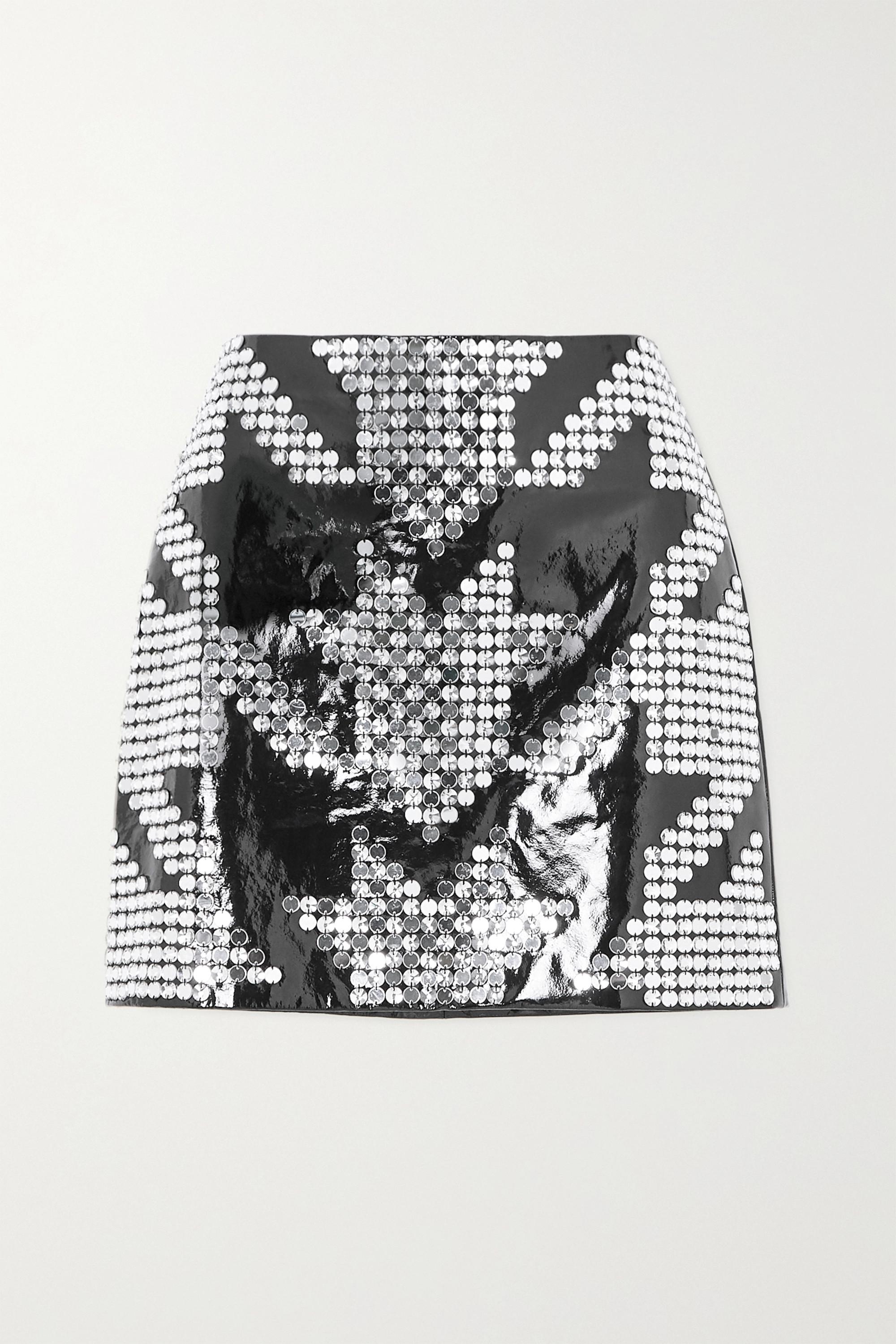 David Koma Embellished patent-leather mini skirt