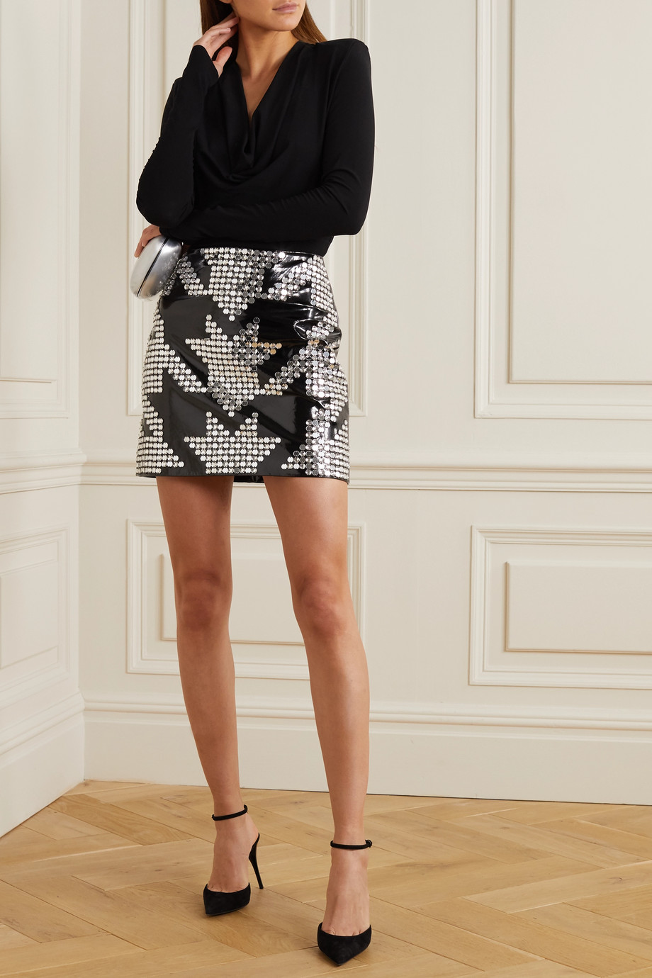 David Koma Embellished patent-leather mini skirt