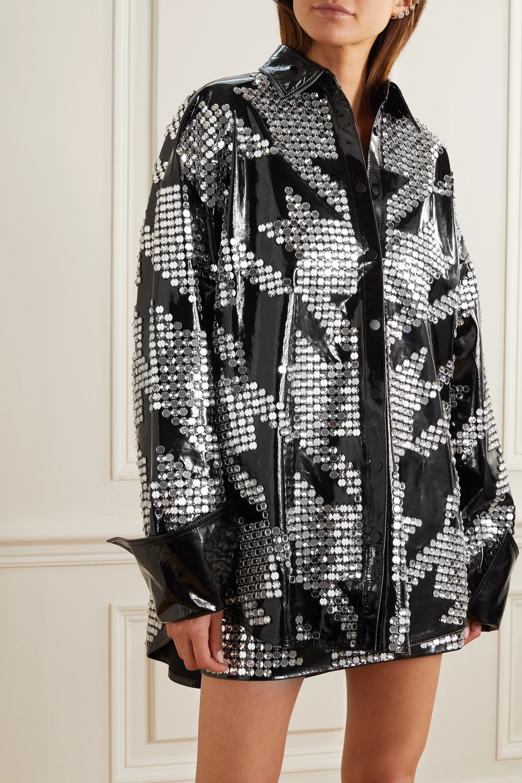 David Koma Oversized embellished patent-leather shirt