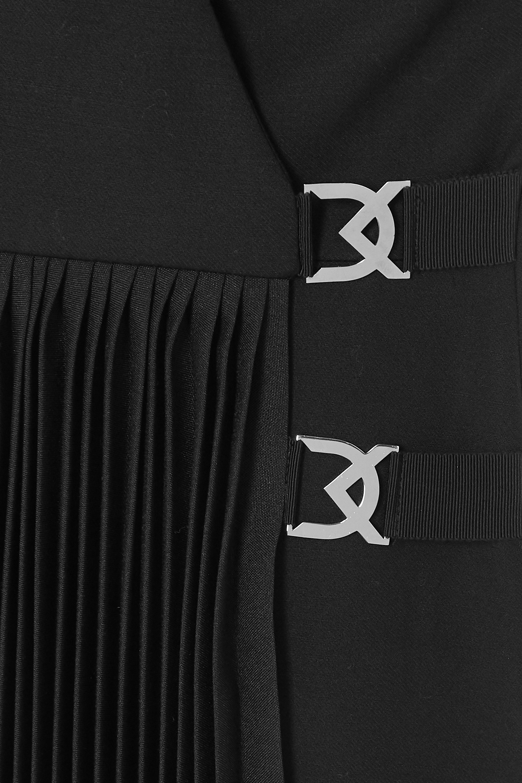David Koma Embellished pleated wool-crepe mini dress